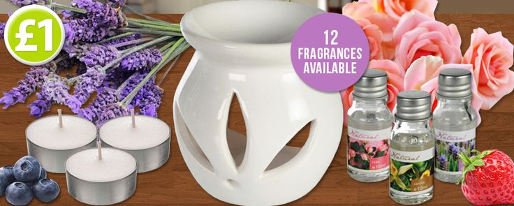 Back in stock...scented oil burner gift sets! Choose between 12 wonderful fragrances, only £1 each! www.poundshop.com/home-garden/household/air-fresheners