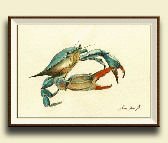 Crabe bleu-impression décor impression par SanMartinArtsCrafts