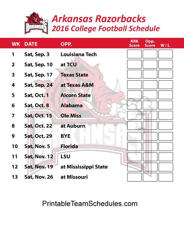 Arkansas Razorbacks  Football Schedule 2016. Printable Schedule Here - http://printableteamschedules.com/collegefootball/arkansasrazorbacks.php