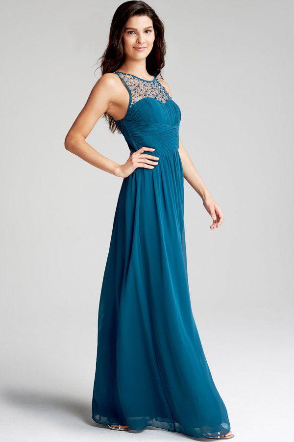 Little Mistress Petrol Blue Embellished Neck Maxi Dress - Little Mistress from…