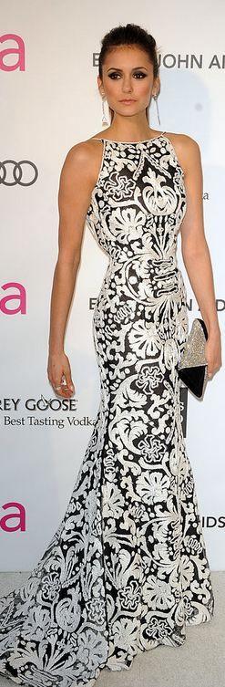 Great for an evening blk tie event on a hot florida night, very sleek, stylish, elegant, very edie!    Nina Dobrev after Oscar party 2013 -  Naeem Khan