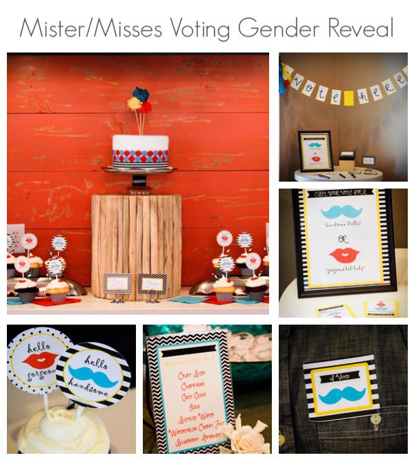 Mister/Misses Gender Reveal Package with Voting Station. Colors can be customized.  - Cupcake Toppers  - Food and Beverage Cards - Voting Station Banner - Voting Ballots - I voted stickers - Voting Instructions - Ballot Box Label - Gender Reveal Event Banner   (Please Note, we do not provide printing services. Only the digital image files for you to print yourself)