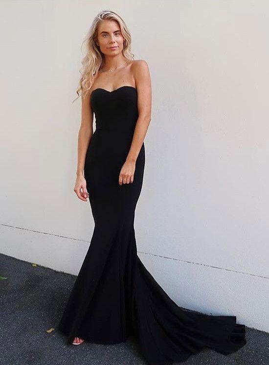 23b445264da7 strapless mermaid long prom dresses evening dresses #blackpromdresses  #longpromdresses #longeveningdresses