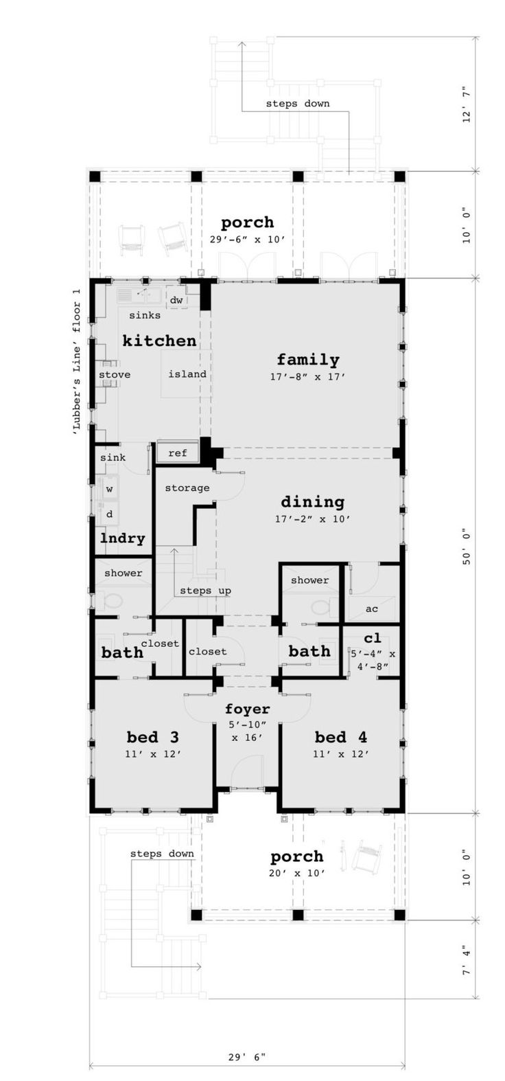 4 Bedroom Beach House Plan in 2020 Beach house plans
