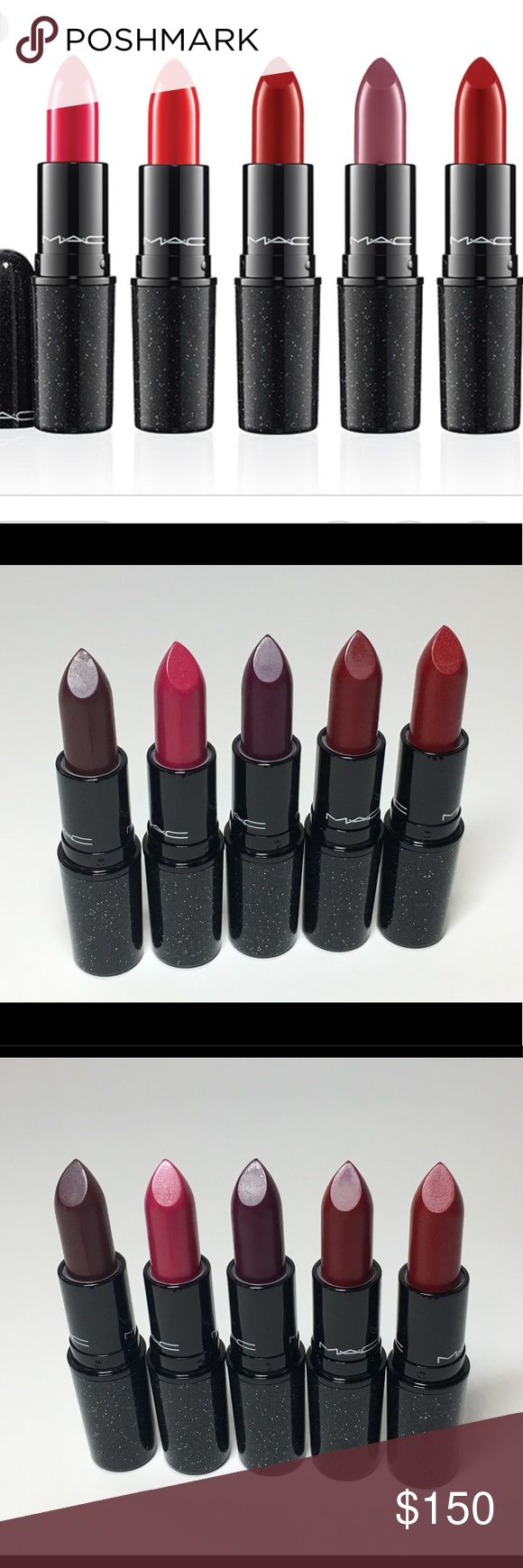NIB Mac Heirloom Mix Lipsticks x5 100% Auth A64 NIB Mac Cosmetics Heirloom Mix Lipstick bundle x5. Batch code: A64.  Heirloom Mix Holiday 2014 Collection. Limited Edition. 100% Authentic.   Tribalist, No Faux Pas, Rebel, Salon Rouge & Sparks of Romance. Please see pictures as this is actual item that you will receive. Please feel free to contact me with any questions and I will get back to you as soon as possible. Thank you! MAC Cosmetics Makeup Lipstick