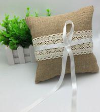 2016 Nieuwe Ontwerp Vintage Jute Wedding Ring Kussen Bridal Decoratie Product Supply(China (Mainland))