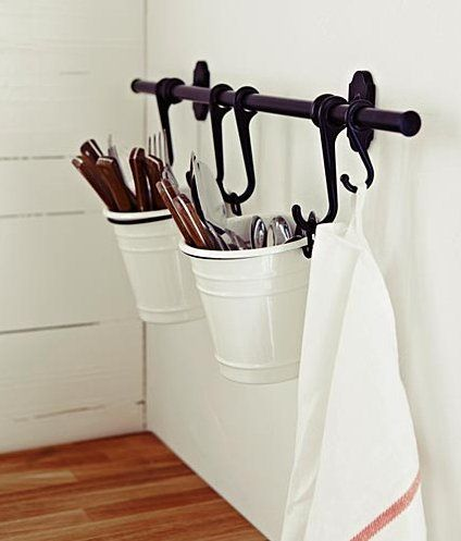 Have fun with all the hanging combinations with IKEA's Fintorp basket kitchen storage organizer set.