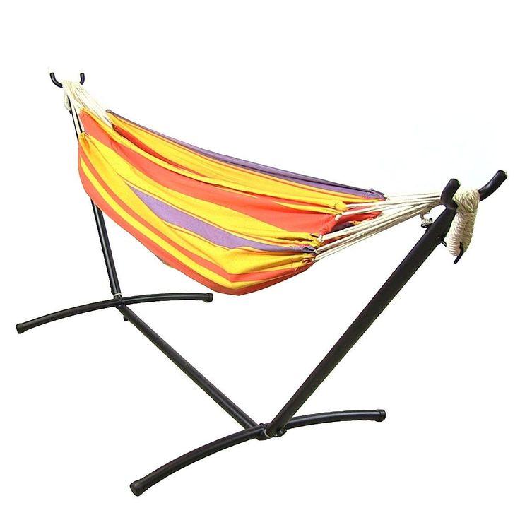 Sunnydaze Premium 100 % Natural Tightly Woven Cotton Double Brazilian Hammock & Hammock Stand (summer breeze) (Polyester) #Sunnydaze Decor, Patio Furniture