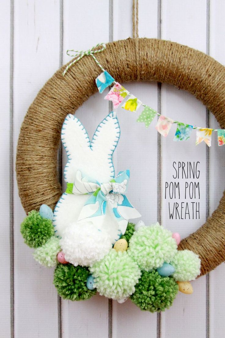 Spring Pom Pom Wreath - so cute! Tutorial on { lilluna.com }
