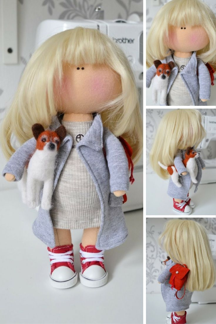 Interior doll Handmade doll Tilda doll Art doll blonde grey color soft doll…