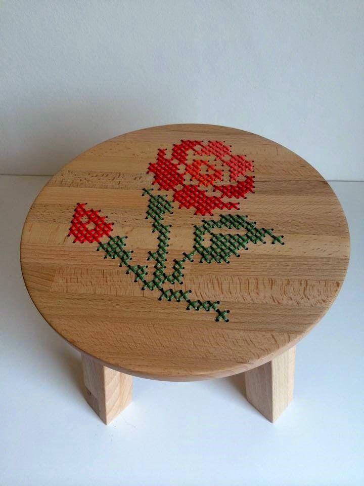 A´maries blogg: Tillverka en pall och brodera sitsen