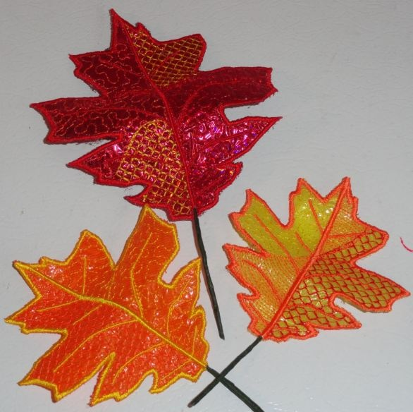 Pam's Embroidered 3D Leaves 13-15