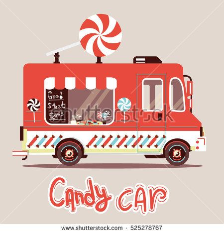 Retro Red Candy Car With Big Lollipop On Roof Flat Style Illustration Isolated Background