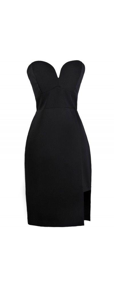Lily Boutique A Cut Above Strapless Dress in Black, $48 Little Black Dress, Black Cocktail Dress, Cute Black Boutique Dress www.lilyboutique.com