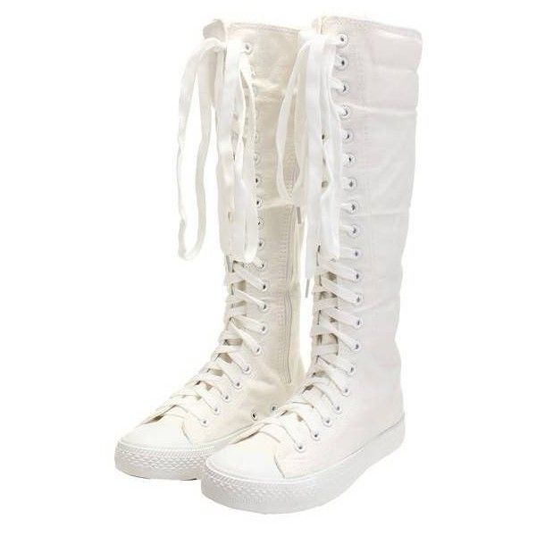 Canvas Lace Up Knee High Flat Boots ($18) ❤ liked on Polyvore featuring shoes, boots, white lace up boots, knee high boots, flat boots, white flat shoes and black boots