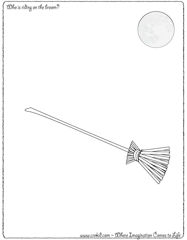 Halloween - Who is riding on the broom? CreKid.com - Creative Drawing Printouts - Spark your child's imagination and creativity. So much more than just a coloring page. Preschool - Pre K - Kindergarten - 1st Grade - 2nd Grade - 3rd Grade. www.crekid.com
