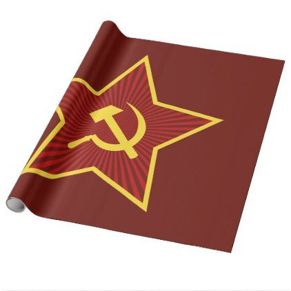 Red Star Hammer and Sickle Glossy Wrapping Paper - craft supplies diy custom design supply special