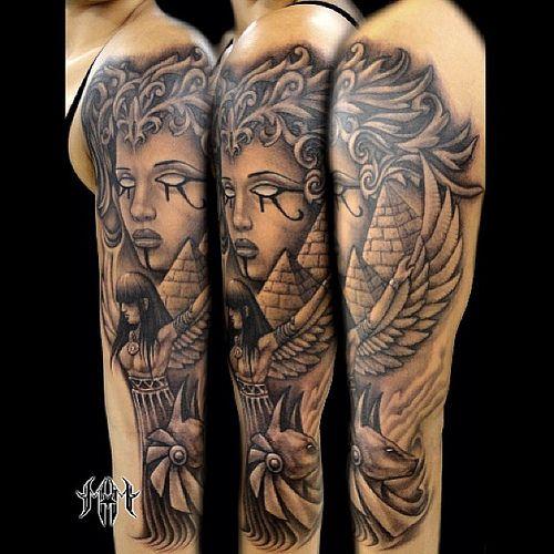 Egyptian Sleeve Tattoo (Unknown Artist) <3