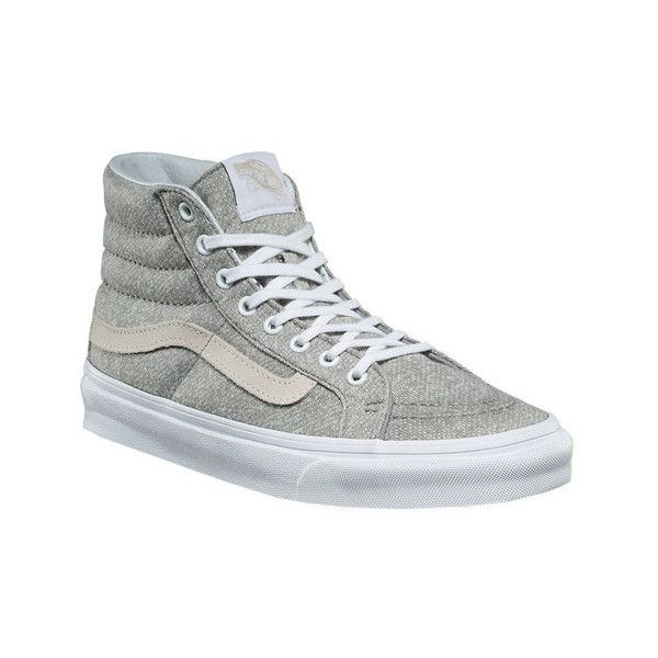 Vans Sk8-Hi Slim High Top ($70) ❤ liked on Polyvore featuring shoes, sneakers, casual shoes, vans shoes, lace up sneakers, vans sneakers, skate shoes and skate sneakers