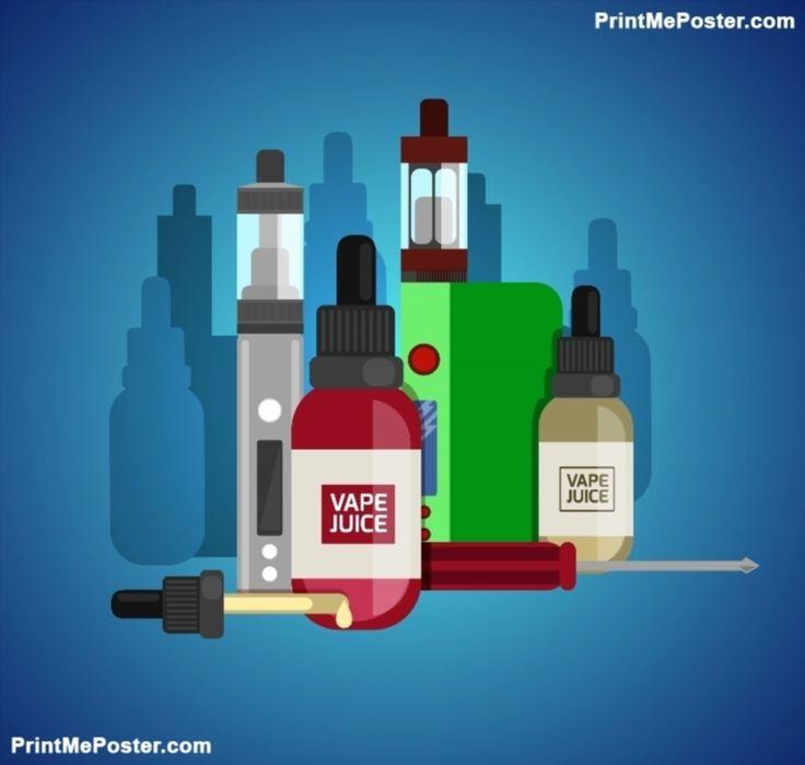 Poster of Vape Device Vector Set. Vaping Juice For Vape. Vape Trend New Culture. Vape Smoking. Vapor Vaping. V #poster, #printmeposter, #mousepad, #tshirt