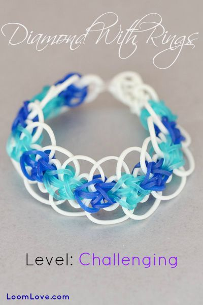 How to Make the Diamond with Rings Bracelet - Rainbow Loom video tutorial