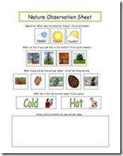 Nature Observation Sheet
