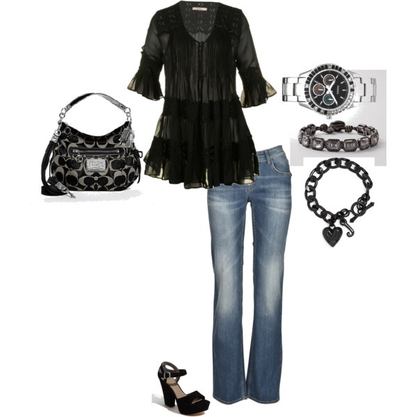 casual black..with great accessories: Coaches Purses, Accessories Fossils Bracelets, Blackwith, Black Coaches Pur, Looks Casual, Black Outfit, Casual Black With, Fake Friends, You R Sets
