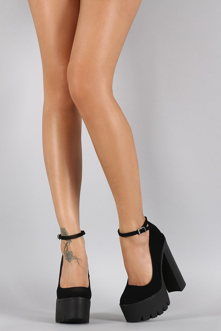 These are MY kinda heels! Tall, chunky, and a good grip on the floor!