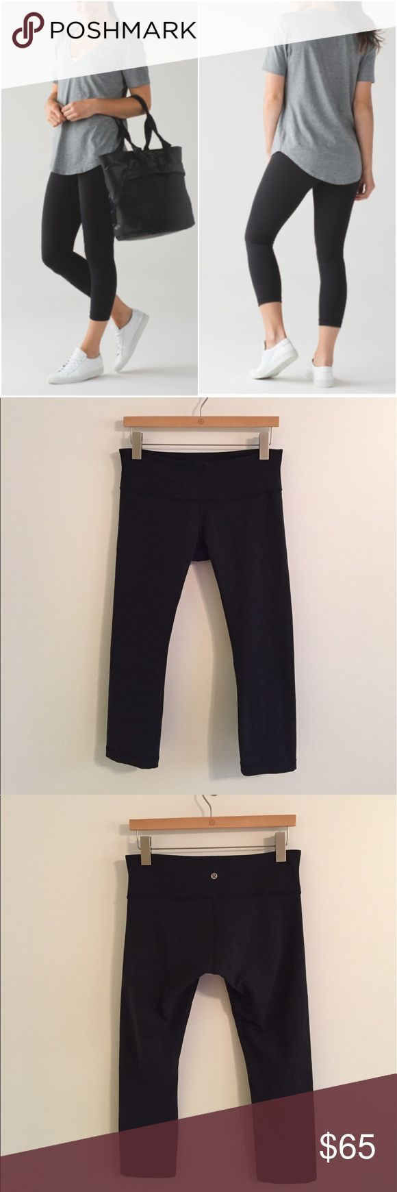 Lululemon wunder under crops Lululemon wunder under crops, size 8, black, great condition with no flaws(meaning no piling/seam damage/stains/rips/holes/etc). Medium rise, crop length, tight fit, Full On Luon! Bundle to save 10% off ❤️ lululemon athletica Pants Capris