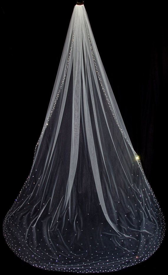 Cathedral Length Bridal Veil with Crystal Edge and Scattered Crystals, Crystal Bridal Veil, White Diamond Ivory Veil, Style 1033 'Megan'