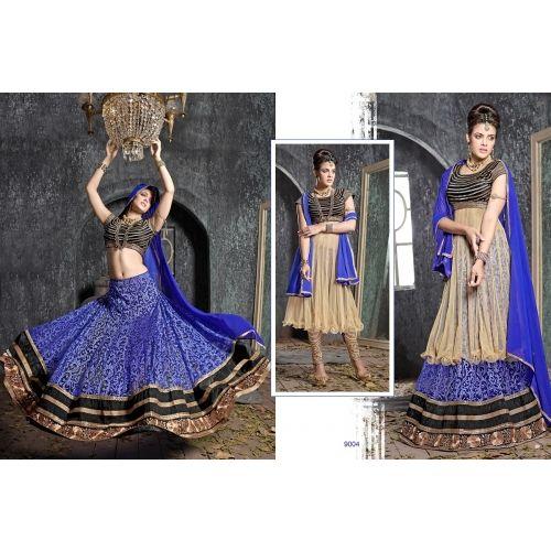 Thankar Latest Ocaasional Royal Blue Indo Western Style Lahenga Choli