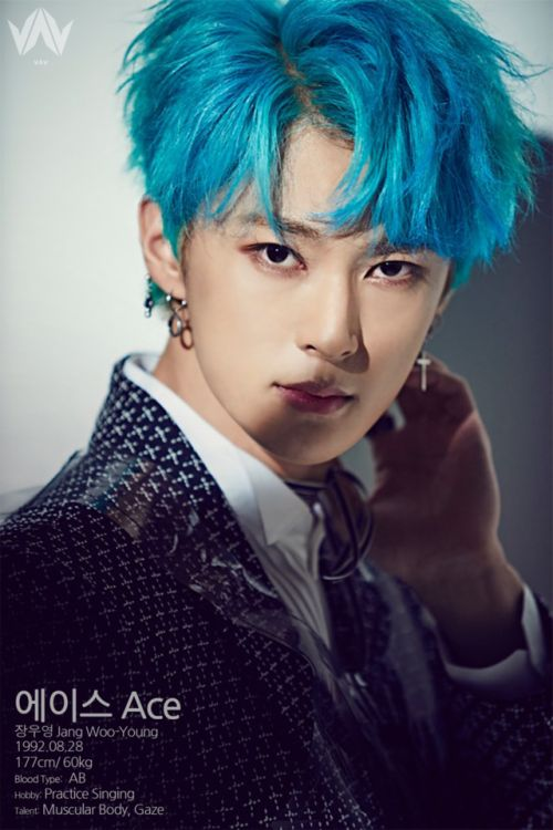 "VAV - ACE PROFILE  ""  에이스 Ace  최충협 Jang Woo-Young  1992.08.28  177cm / 60kg  blood type: AB  hobby: practicing singing  talent: muscular body, gaze  """