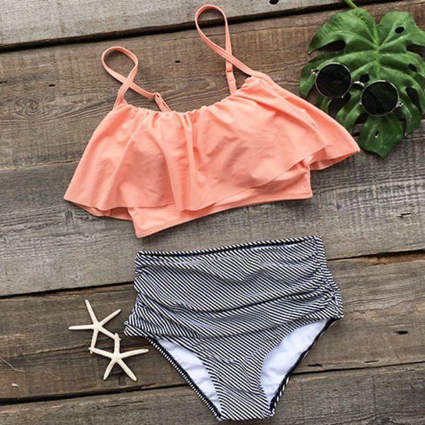 Cupshe Seaside Gale Falbala High-waisted Bikini Set