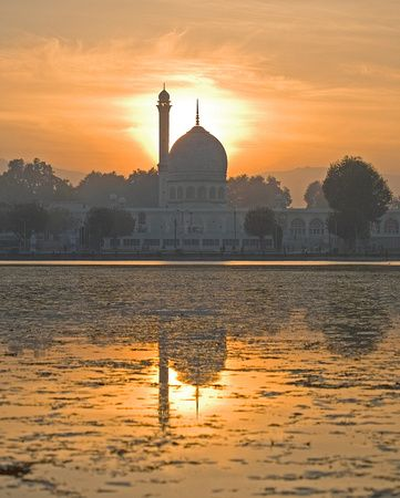 Hazratbal Mosque at Sunset on Dal Lake ~ Srinagar, Kashmir, India