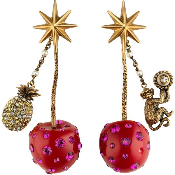 Gucci Cherry Pendant Earrings (1'075 CHF) ❤ liked on Polyvore featuring jewelry, earrings, accessories, star pendant, monkey pendant, pendant earrings, red pendant and pineapple pendant