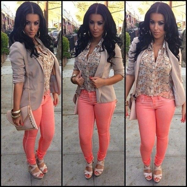 Soft pink skinny jeans