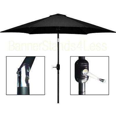 10 ft Aluminum Outdoor Patio Umbrella Market Yard Beach w/ Crank Tilt – BLACK
