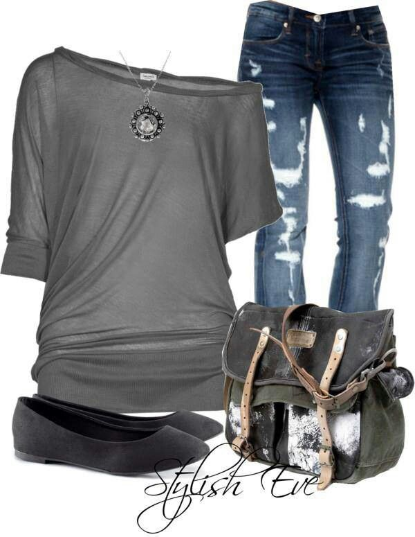 Grey and tattered jeans