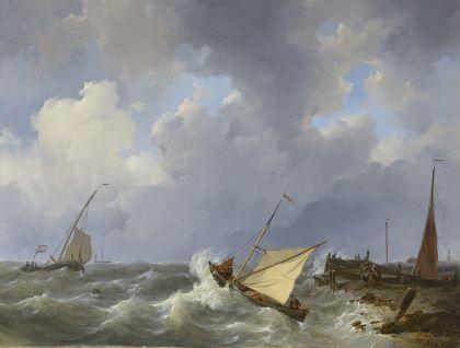 Johannes Christianus Schotel (1787-1838) Sailing ships on a choppy sea near a harbour, oil on canvas. Collection Simonis & Buunk, The Netherlands