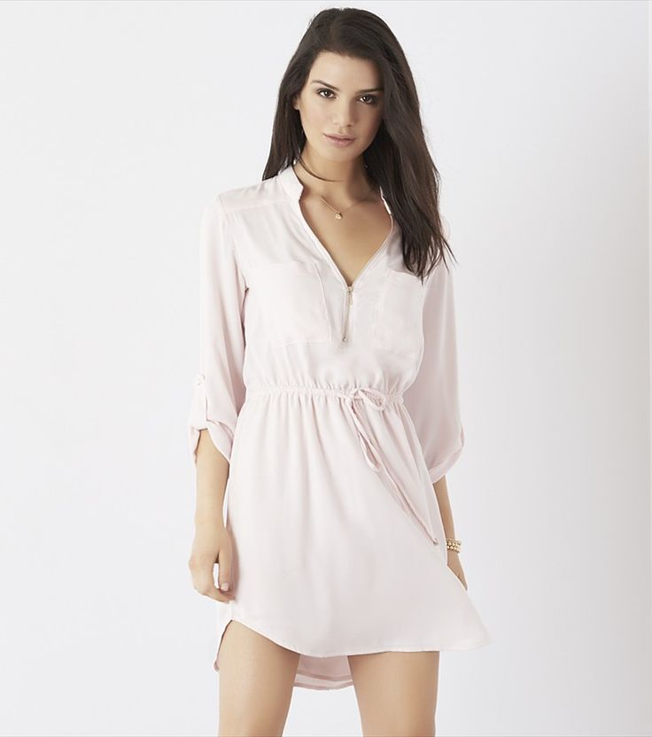 Shirt Dress with Zip MAUVE CHALK