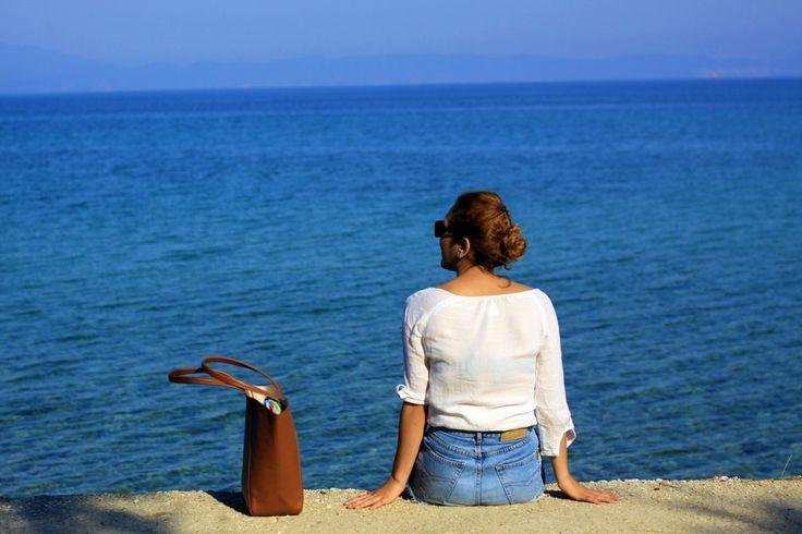 Thassos Greece - white shirt, blue sea