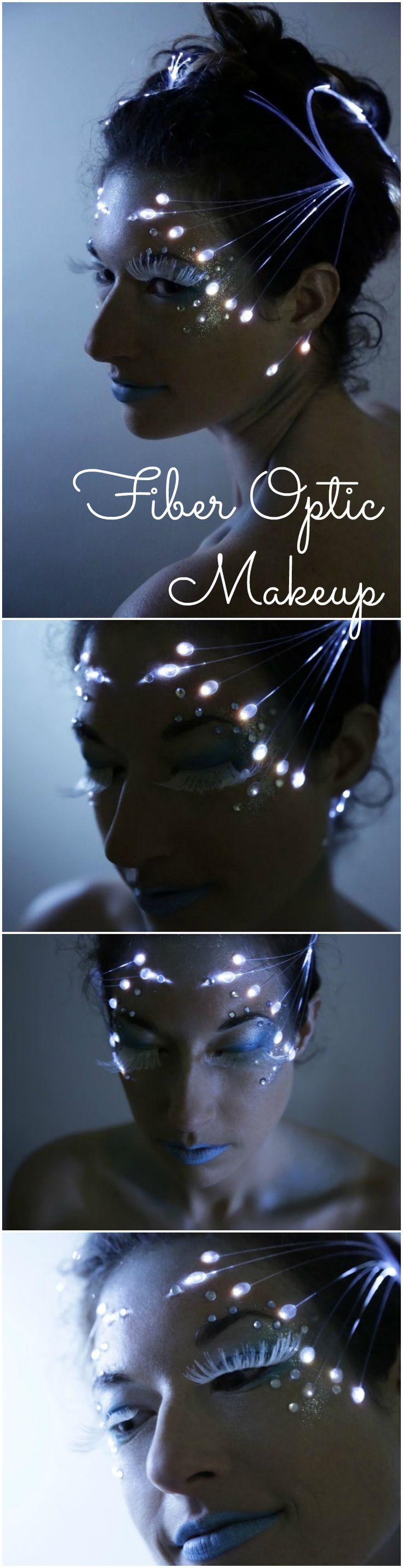 Fiber Optic Makeup | For your next holiday party you don't need genetic engineering, or even electronics skills, to turn yourself into a dazzling bioluminescent creature, just a few supplies and a bit of patience with small objects and glue.