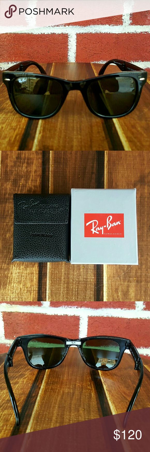 Ray-Ban 4105 Folding Wayfarer 601 50mm Unisex 💞4105 Black Ray-Ban Folding Wayfarer 50mm 💝  ❌NO TRADES! ❌NOT POLARIZED  📪Same/next day shipping  Brand New comes with original Box & Cleaning cloth. 🚫 NO BOOKLETS            100% AUTHENTIC GENUINE RAY-BAN   All my rayban sunglasses come from a luxottica authorized distributor Ray-Ban Accessories Sunglasses