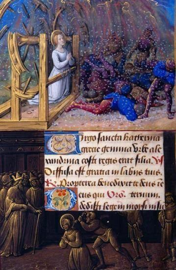 Sainte-Catherine: Catherine Sauvé de la torture Roues frontière: Décapitation de Catherine | Fol. 188v | La Morgan Library and Museum