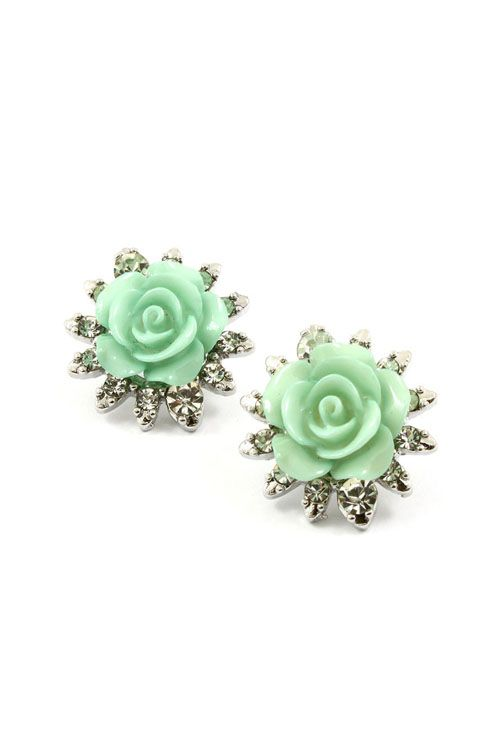 Mintylicious Crystal Rose Earrings | Awesome Selection of Chic Fashion Jewelry | Emma Stine Limited