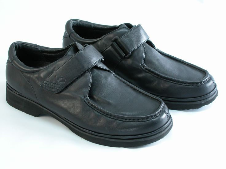 Florsheim Comfortech Men's Black Leather Slip On Loafers Shoes 12D Velcro  Strap