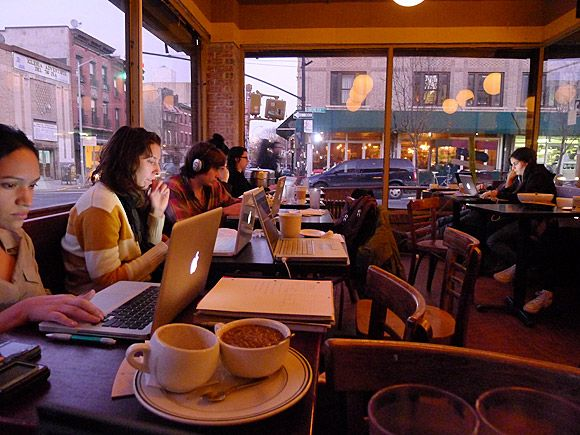 Atlas Cafe, hangout at the corner of Havemeyer and Grand, Williamsburg