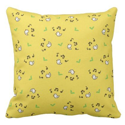 Birds and song pattern Yellow Throw Pillow - patterns pattern special unique design gift idea diy