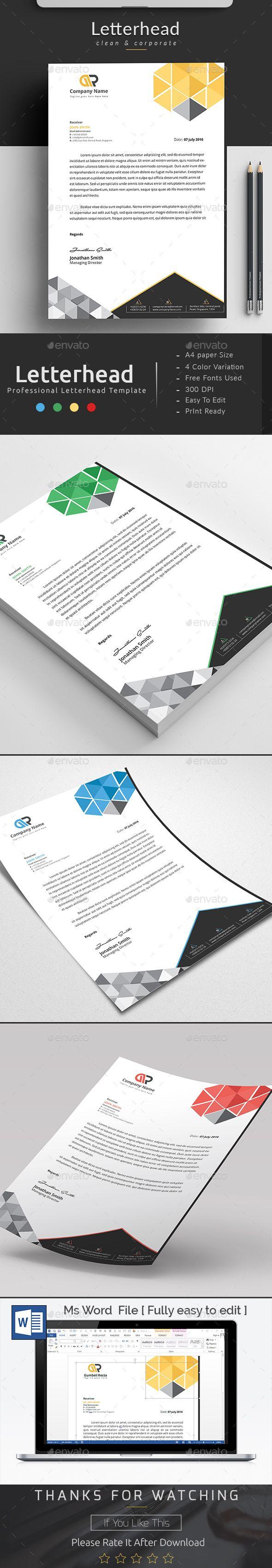 letter format on letterhead%0A MS Word Letterhead Template