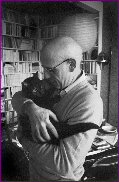 French philosopher Michel Foucault portrayed in Paris in 1978 with his #Black #cat near him. © Martine Franck/Magnum Photos/Agentur Focus #blackcat